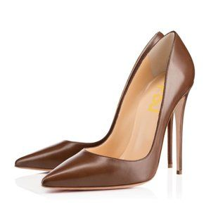 Brown Office Heels Pointy Toe Stiletto Heels